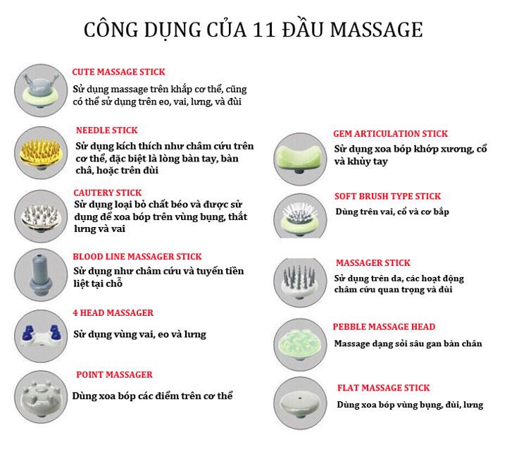 Máy massage cầm tay 11 đầu Shika